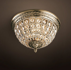 19TH C. CASBAH CRYSTAL FLUSHMOUNT 12""
