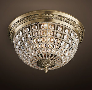 19TH C. CASBAH CRYSTAL FLUSHMOUNT 18""